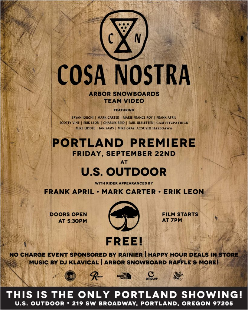 ARBOR SNOWBOARDS FILM NIGHT – COSA NOSTRA